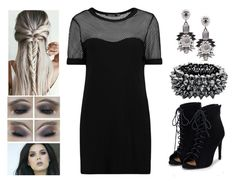 """""""Mesh"""" by teodoramaria98 ❤ liked on Polyvore featuring Boohoo, JustFab, Chico's, Fiorelli, outfit, black and dress"""