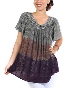 Another great find on #zulily! Gray Abstract Ombré Top - Plus #zulilyfinds