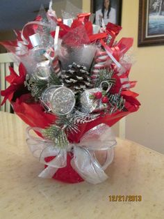 red and silver candy bouquet