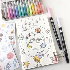 24 Insanely Simple Bullet Journal Header Ideas To Steal! Need some bullet journal header ideas for beginners? This post is FOR YOU! The perfect way to liven up your bullet journal is with art and # Bullet Journal 2019, Bullet Journal Notebook, Bullet Journal Spread, Bullet Journal Layout, Bullet Journal Inspiration, Book Journal, Bullet Journals, Bullet Journal September Cover, Art Journal Covers