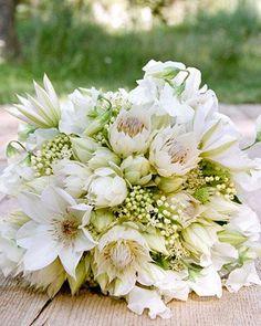 La Fleur Vintage - bridal bouquet with blushing bride protea and clematis White Wedding Bouquets, Bride Bouquets, Floral Wedding, Wedding Flowers, Bouquet Wedding, Art Deco Wedding, Rustic Wedding, Wedding Ideas, Wedding Vintage