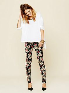 floral print skinny cords... so cute for fall