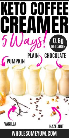 The Best Keto Coffee Creamer Recipe (5 Flavors!) | Wholesome Yum Best Coffee Creamer, Healthy Coffee Creamer, Coffee Creamer Recipe, Keto Coffee Recipe, Coffee Recipes, Low Carb Drinks, Keto Food List, Keto Drink, Ketogenic Recipes