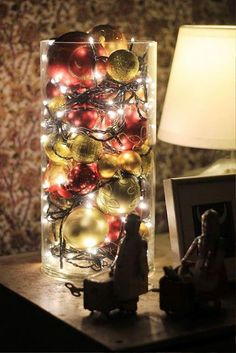 Cool Ways To Use Christmas Lights – Christmas Ball Luminary – Best Easy DIY Ideas for String Lights for Room Decoration, Home Decor and Creative DIY Bedroom Lighting – Creative Christmas Light Tutorials with Step by Step Instructions – Creative Crafts and Noel Christmas, Merry Little Christmas, Winter Christmas, Christmas Ornaments, Christmas Balls, Simple Christmas, Christmas Ideas, Christmas Hallway, Snowflake Ornaments