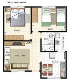 Casa pequena 6                                                                                                                                                                                 Mais House Plans 3 Bedroom, Dream House Plans, Small House Plans, House Floor Plans, Home Design Plans, Plan Design, Model House Plan, Apartment Plans, Prefab Homes