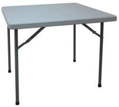 Industrial Grade 13V431 Table, Square, Blow Molded, 36x36, Gray by Industrial Grade. $108.44. Folding Table, Shape Square, Width 36 In., Height 29 In., Length 36 In., Tabletop Color Gray, Edge Color Gray, Frame Color Gray, Top Thickness 1.772 In., Surface Material Blow Molded Polypropylene, Frame Material Steel, Weight Capacity 450 lb., Edge Type Bullnose, Leg Type Straight, Green Environmental Attribute Minimum 70 Percent Post-Consumer Recycled Content