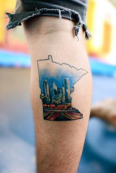 Twin Cities 43 Rad Tattoos To Pay Tribute To Your Favorite Place Minnesota Tattoo, State Tattoos, Skyline Tattoo, Top Tattoos, Tatoos, Ocean Tattoos, Sexy Tattoos, City Tattoo, London Tattoo