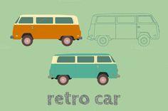 Retro cars in flat style. Vector by AnnaLytvynenko on @creativemarket