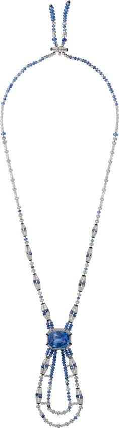 CARTIER. Collier - platine, un saphir de Birmanie coussin taille à degrés de 37,88 carats, boules saphir, onyx, diamants taille brillant. #Cartier #RésonancesDeCartier #2017 #HauteJoaillerie #HighJewellery #FineJewelry #Sapphire #Onyx #Diamond