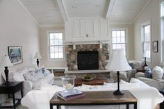 Stone fireplace for cottage Stone Fireplace Mantel, Living Room With Fireplace, Fireplaces, Fireplace Ideas, Cottage Living Rooms, Living Room Decor, Cozy Cottage, Cottage Style, White Rooms