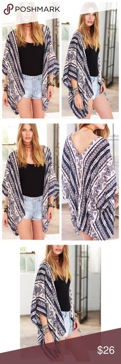 🆕 Coming Soon Casual Bohemian Aztec Print Kimono Casual Bohemian Aztec Print Kimono Bohemian Aztec print beach cover up/kimono.  One size fits most.   