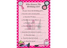 Spa Party Birthday Game Spa Party Game For by KidsPrintablesByCee, $5.00