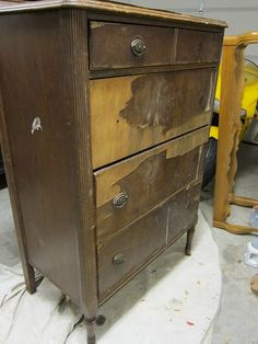 what you can do with a really messed up dresser Recycled Furniture, Handmade Furniture, Dresser Furniture, Furniture Repair, Old Furniture, Refurbished Furniture, Paint Furniture, Furniture Making, Furniture Makeover