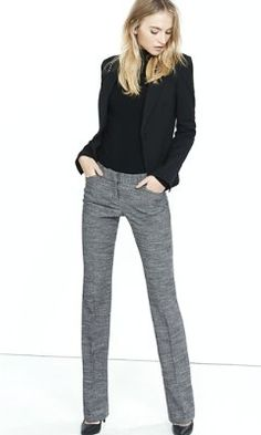 tweed barely boot editor pant from EXPRESS - might be worth trying to see if I can handle the slimmer fit.