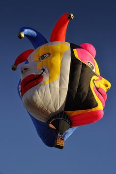 My favorite new balloon at this year's Albuquerque International Balloon Fiesta. Like many of the newer special shape balloons, Triple Clown is from Brazil. Clown Balloons, Helium Balloons, Air Ballon, Hot Air Balloon, Albuquerque Balloon Festival, Balloons Galore, Balloon Flights, Vintage Neon Signs, Send In The Clowns