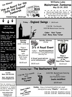 Theme for the William's Lake Jamboree:  England Swings.  Please read the newsletter at the link for a description of the event.