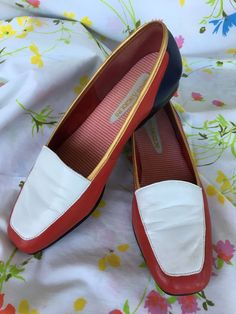 e896bfede4a VTG ENZO ANGIOLINI LIBERTY RED WHITE BLUE GOLD SLIP ON LOAFERS FLATS SHOES  6 1