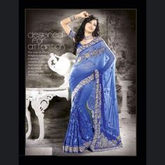 Rich look attire to give your a right choice for any party or function. Be an angel & create a smashing impact on everyone by wearing this deep blue faux georgette & jacquard saree. It is uniquely crafted with lace, resham & sequins work.  Price: US$112.38
