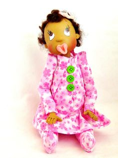 Ooak Handmade Baby Art Doll Dress in Pink and Green
