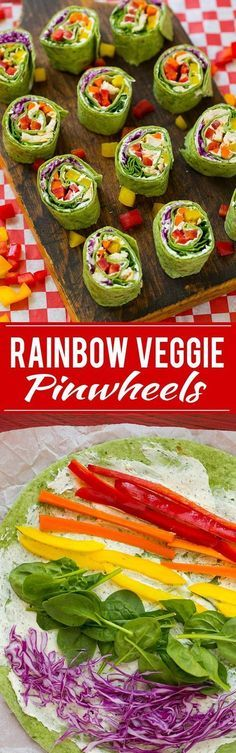 Rainbow Veggie Pinwheels Recipe   Veggie Pinwheels   Kids Lunch Recipe   Pinwheel Sandwich Recipe