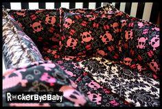 CUSTOM punk baby CRIB BEDDING you choose the fabric skull and crossbones goth girl boy or unisex. $300.00, via Etsy.