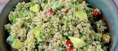 Wonderful summertime quinoa salad with spinach and avocado. #quinoa