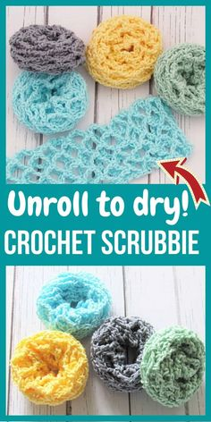 Best Crochet Scrubbie Free Pattern (Unroll to Clean) - Crochet Dreamz - Make these crochet scrubbies in place of your dishcloths and you will never look back. You will lov - Scrubbies Crochet Pattern, Crochet Pattern Free, Crochet Diy, Crochet Gratis, Crochet Home, Crochet Patterns, Crochet Accessories Free Pattern, Crochet Geek, Beginner Crochet