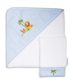 The Gordonsbury Company - The Gordonsbury Company White Safari Hooded Towel and Mitt Set at Harrods