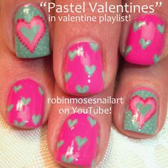 Nail-art by Robin Moses Pink and Teal Country nails for valentines!