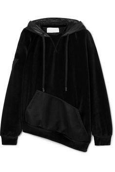 Epaki asymmetric mesh and cotton-blend velour hoodie Stella Mccartney Adidas, Black Hoodie, Active Wear, Leather Jacket, Street Style, Hoodies, My Style, Casual, Sweaters