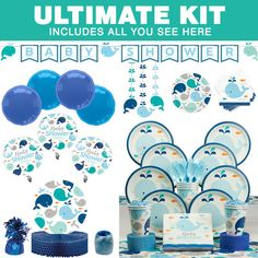 Check Out Lilu0027 Spout Blue Baby Shower Ultimate Tableware Kit (Serves 8) |