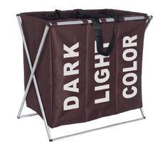Wenko 3440013100 - Cesto para colada con 3 compartimentos de poliéster y aluminio (63 x 57 x 38 cm), color marrón oscuro, http://www.amazon.es/dp/B00576BM8Q/ref=cm_sw_r_pi_awdl_1tByxbPK3HJKT