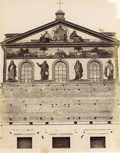 Viale di San Paolo – La facciata della Basilica di San Paolo fuori le Mura nella fase di ricostruzione dopo l'incendio del 15 luglio 1823 Anno: 1870 ca.