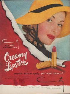 "Description: 1949 COTY LIPSTICK vintage print advertisement ""Creamy Lipstick"" ""smooth  *  easy to apply  *  yet never smears! New Creamy Lipstick In Jewel-Like Fluted Case. "" Size: The dimensions of the full-page advertisement are approximately 11 inches x 14 inches (28cm x 36cm). Condition: This original vintage advertisement is in Very Good Condition unless otherwise noted ()."