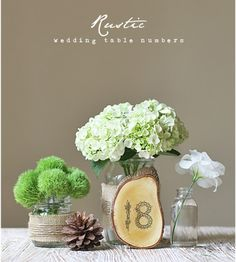 i like the wood slice for table numbers, but i'd have to make it a little more fancy