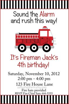 Little Red Fire Truck Birthday Party Invitation