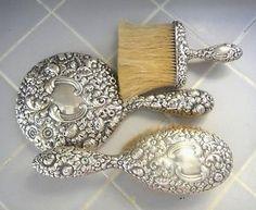 Antique GORHAM Sterling Silver Dresser Vanity Set Victorian Repousse Florals  in Antiques, Silver, Sterling Silver (.925), Brushes & Grooming Sets   eBay