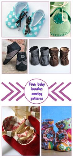 Free baby booties sewing patterns. Great baby shower gifts. #Baby #DIY