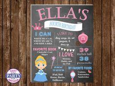 SALE Cinderella Chalkboard Art Birthday by EasyPartyPrintables,