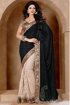 Beautiful Black, Cream Velvet, Net Saree