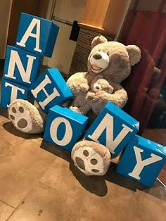Baby Shower Decorations Boxes Awesome Teddy Bear Baby Name Boxes Baby Shower Bab. Baby Shower Decorations Boxes Awesome Teddy Bear Baby Name Boxes Baby Shower Bab… – Carson's Baby Shower Oso, Teddy Bear Baby Shower, Shower Bebe, Boy Baby Shower Themes, Baby Shower Gender Reveal, Baby Shower Parties, Baby Boy Shower, Bear Baby Showers, Baby Shower Photo Props