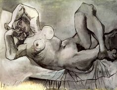 madivinecomedie: madivinecomedie: Pablo Picasso. Femme couchee (Dora Maar) 1938 See also