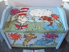 dr suess baby room ideas | Dr. Seuss character themed children's wooden toy box! https://www ...