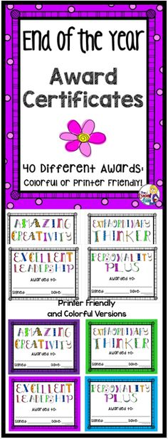 Includes 40 different End of the Year student awards, so you'll be able to find one that is just right for each child in your classroom. Each End of the Year award is super cute and comes in two versions, one with a colorful border and a printer friendly version with a white border. (TpT Resource)