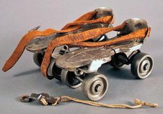 Roller Skates: In the days before inline skates, adjustable skates which you fit your shoes into and tightened with a 'key'. #Roller_Skates