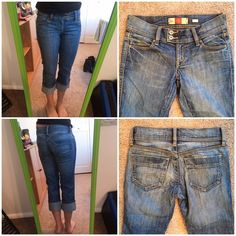 REDUCED!! Old Navy low waist capris cuffed bottoms Old Navy low waist, stretch capris with cuffed bottoms. Size 1. 98% cotton, 2% spandex. EUC. Old Navy Jeans