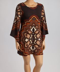Love this Black & Brown Abstract Bell-Sleeve Sweater Dress - Plus on #zulily! #zulilyfinds