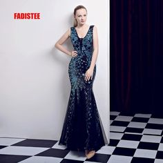 26644aaae3848 FADISTEE New arrival classic party dress evening dresses prom bling Vestido  de Festa luxury pattern sequins