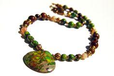#handmade #bijou #variscite #bulls-eye #agate #necklace