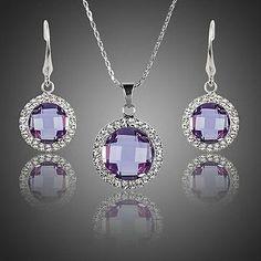 Purple Stellux Austrian Crystal Drop Earrings and Pendant Necklace Set  #necklace #rings #earrings #womensfashion #khaista #dresses #jewelry #fashion #women